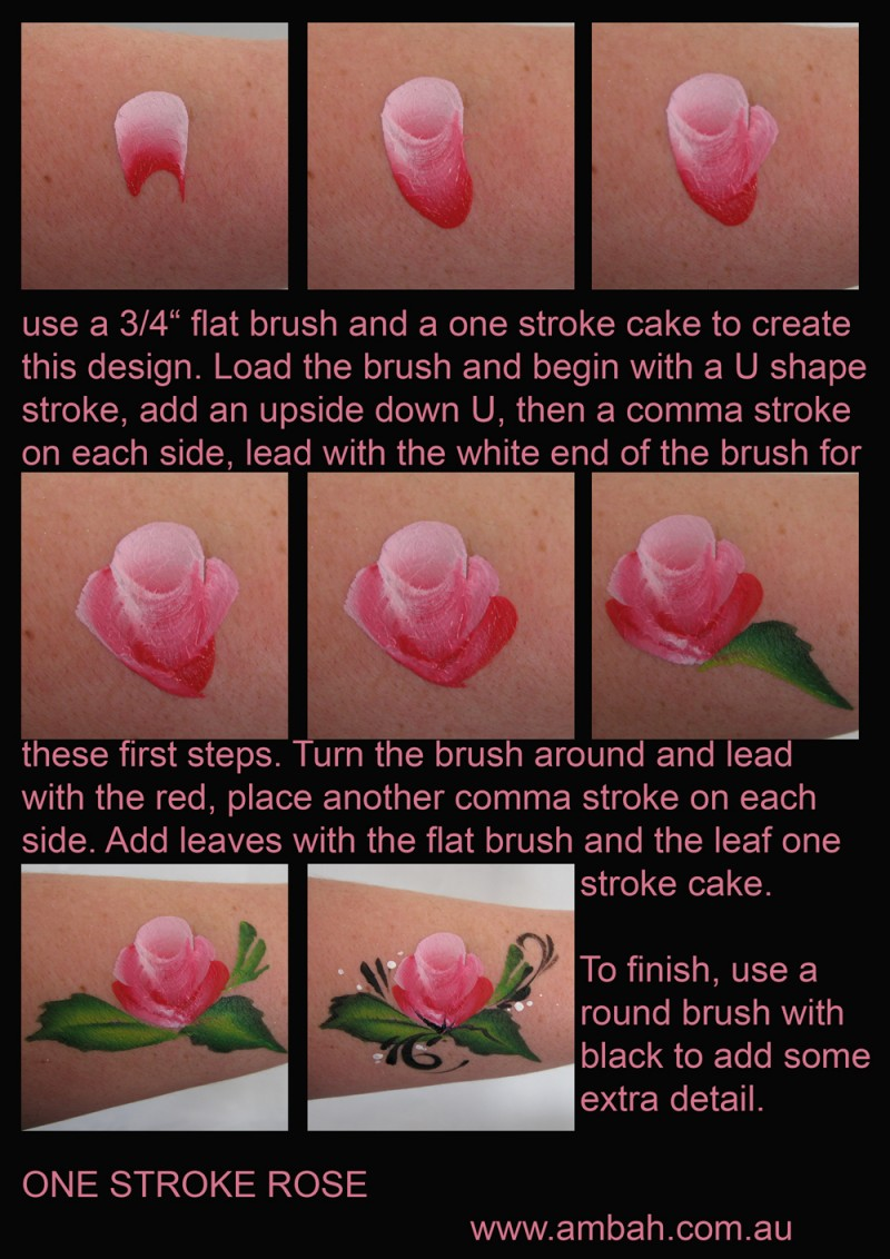 Step by step flowers using mini split cakes face paint for How to paint a rose in watercolor step by step