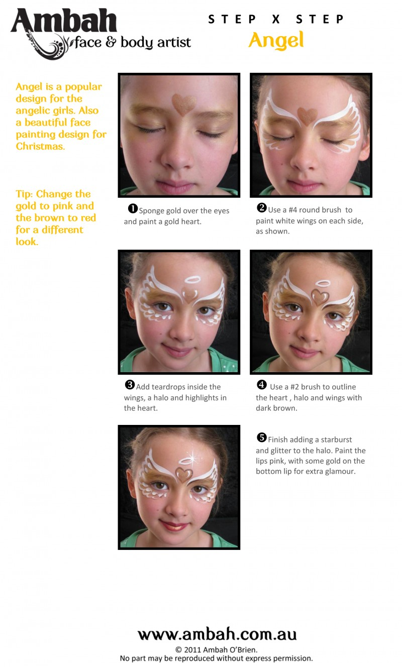 Christmas Face Painting Ideas.Christmas Step By Step Angel Face Painting Design Face