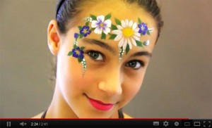 Flower Face Paint Design Video Tutorial by Jinny
