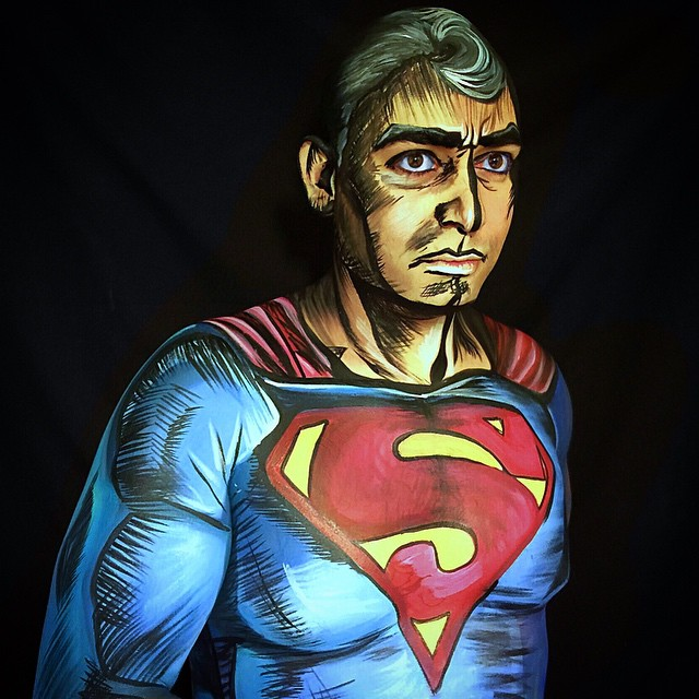 Super Man Body Paint by Lidia Ochoa