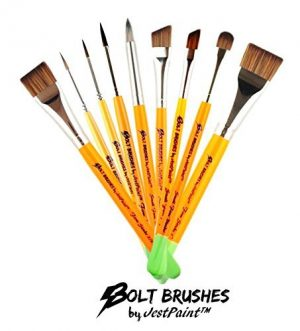Bundle – BOLT Face Painting Brushes by Jest Paint – Set of 9 FIRM Brushes